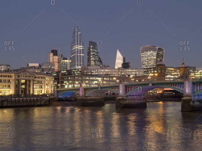 Cityscape with complete 22 Bishopsgate Tower and Southwark Bridge at dusk, London, England, United Kingdom, Europe
