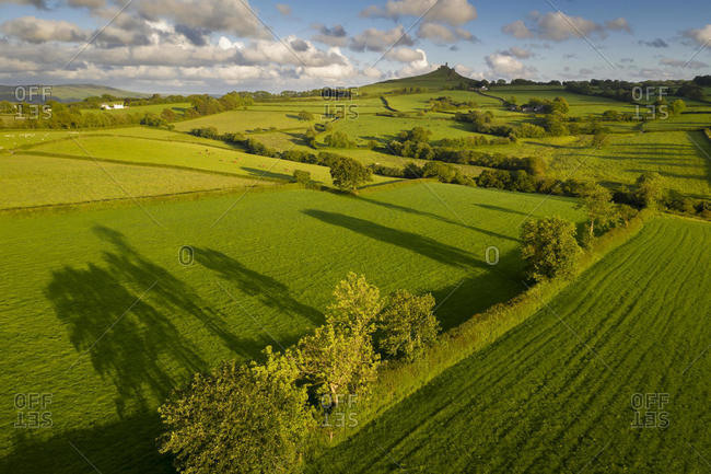 Aerial view by drone of beautiful rolling countryside near Brentor, Devon, England, United Kingdom, Europe