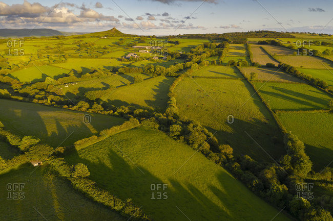 Aerial view by drone of rolling countryside near Brentor, Devon, England, United Kingdom, Europe