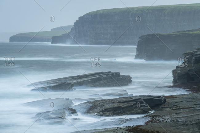 Dramatic coastal scenery near the Brough of Birsay, Mainland, Orkney Islands, Scotland, United Kingdom, Europe
