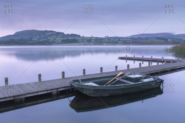 Tranquil dawn beside Llangorse Lake in the Brecon Beacons National Park, Powys, Wales, United Kingdom, Europe
