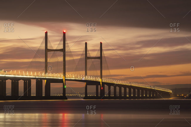 Winter twilight skies above the Prince of Wales Bridge spanning the River Severn, Gloucestershire, England, United Kingdom, Europe