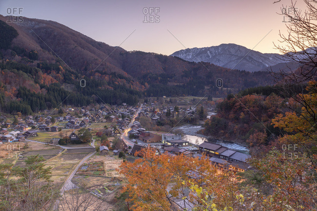 Elevated view of Ogimachi, UNESCO World Heritage Site, at dusk, Shirakawa-go, Toyama Prefecture, Honshu, Japan, Asia