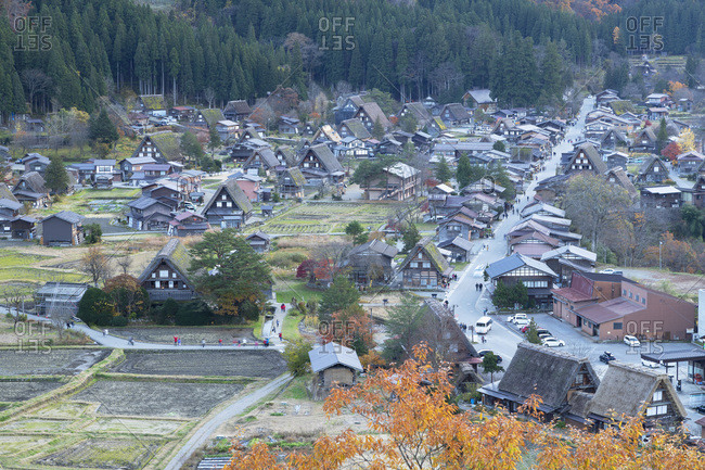 November 21, 2019: Elevated view of Ogimachi, UNESCO World Heritage Site, Shirakawa-go, Toyama Prefecture, Honshu, Japan, Asia