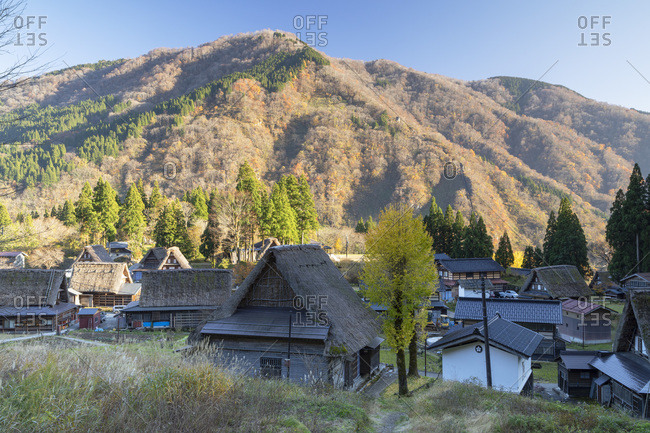 November 23, 2019: Traditional houses of Ainokura, UNESCO World Heritage Site, Gokayama, Toyama Prefecture, Honshu, Japan, Asia