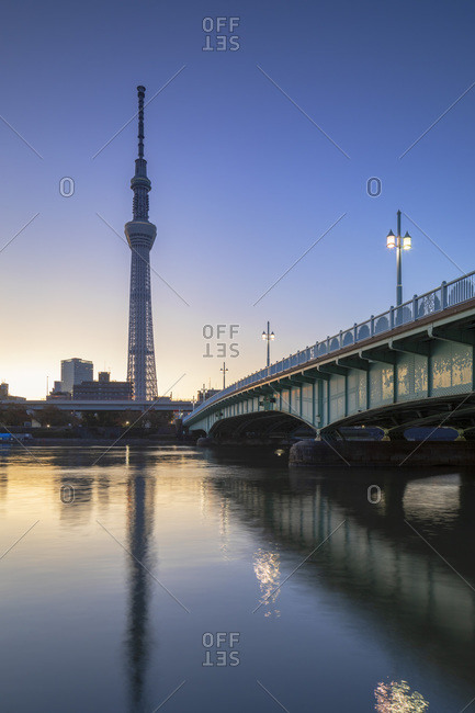 November 16, 2019: Skytree and Sumida River at dawn, Tokyo, Honshu, Japan, Asia