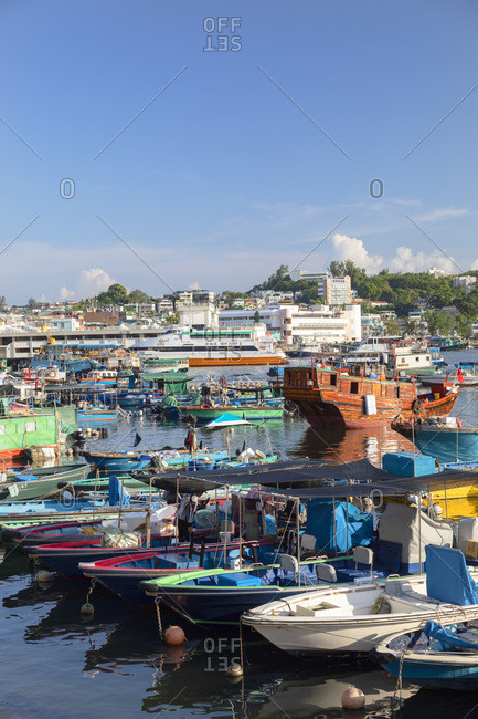 August 27, 2019: Fishing boats in harbor, Cheung Chau, Hong Kong, China, Asia