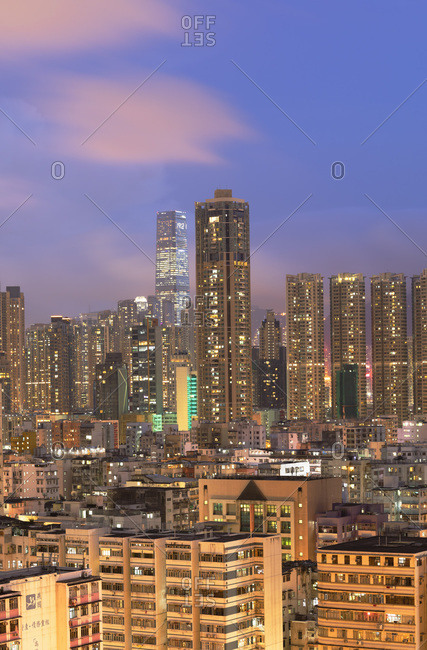 August 13, 2019: Skyline of Kowloon at dusk, Shek Kip Mei, Hong Kong, China, Asia