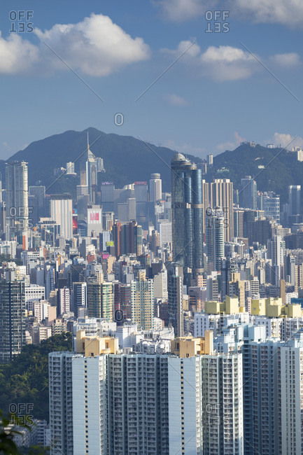 July 26, 2019: Skyline of Kowloon and Hong Kong Island, Hong Kong, China, China, Asia