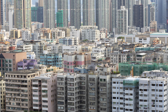 August 13, 2019: Apartment blocks, Shek Kip Mei, Kowloon, Hong Kong, China, Asia
