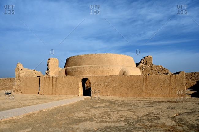 Mosque in the ruined ancient Silk Road oasis city of Gaochang, Taklamakan desert, Xinjiang, China, Asia