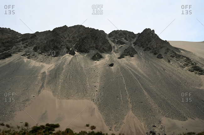 Landscape in the Taklamakan desert near Korla, Xinjiang Province, China, Asia