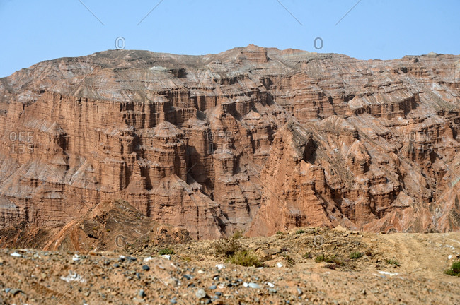 Rock formation in the Taklamakan Desert near Kuche, Xinjiang, China, Asia
