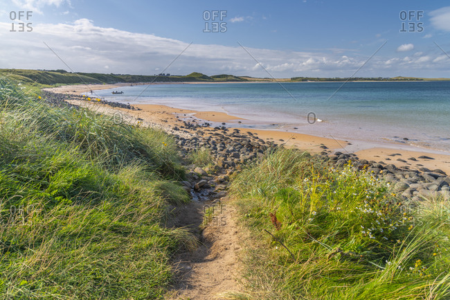 August 29, 2019: Beach, Embleton Bay, Northumberland, England, United Kingdom, Europe
