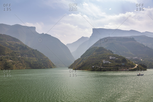 November 15, 2019: View of the Three Gorges on the Yangtze River, People's Republic of China, Asia