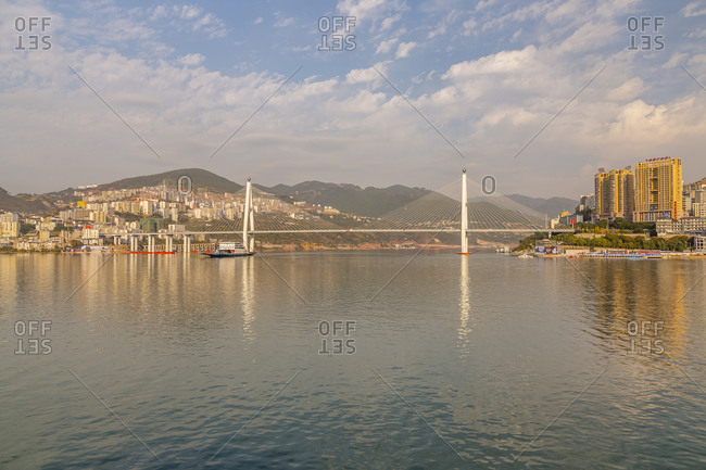 November 15, 2019: View of Badong Changjiang Bridge on the Yangtze River, Enshi City, Badong County, People's Republic of China, Asia