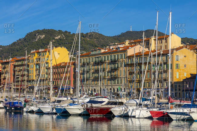 January 8, 2020: Sailing boats in Port Lympia, Nice, Alpes-Maritimes, Cote d'Azur, French Riviera, Provence, France, Mediterranean, Europe