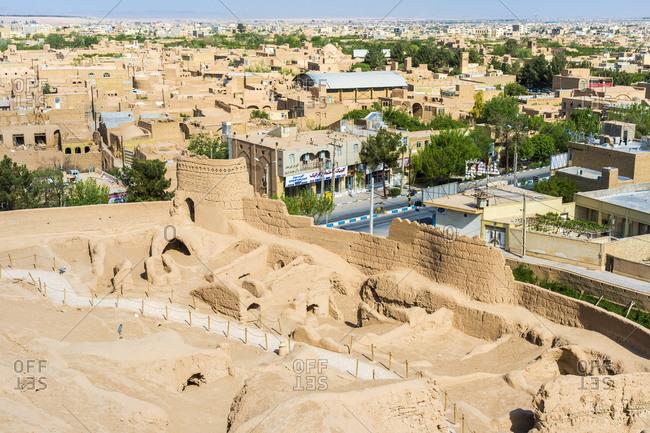 April 12, 2019: Narin Qaleh (Narin Ghaleh) ramparts and the city viewed from Meybod mud-brick fortress, Meybod, Yazd Province, Iran, Middle East