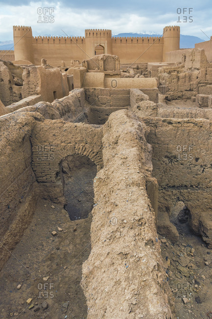 Ruins of towers and walls of Rayen Citadel, biggest adobe building in the world, Rayen, Kerman Province, Iran, Middle East