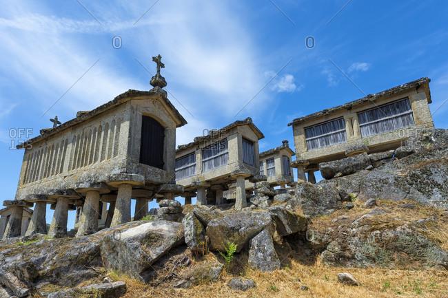 Traditional Espigueiros (Granary), Lindoso, Peneda Geres National Park, Minho province, Portugal, Europe