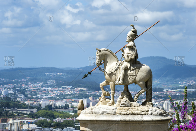 July 29, 2019: Sao Longuinhos equestrian statue, Santuario do Bom Jesus do Monte (Good Jesus of the Mount Sanctuary), UNESCO World Heritage Site, Tenoes, Braga, Minho, Portugal, Europe