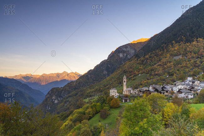 Alpine village of Soglio during autumn, Val Bregaglia, Canton of Graubunden, Switzerland, Europe