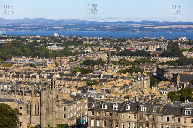 September 7, 2019: Panoramic view of New Town and Firth of Forth, Edinburgh, Scotland, United Kingdom, Europe