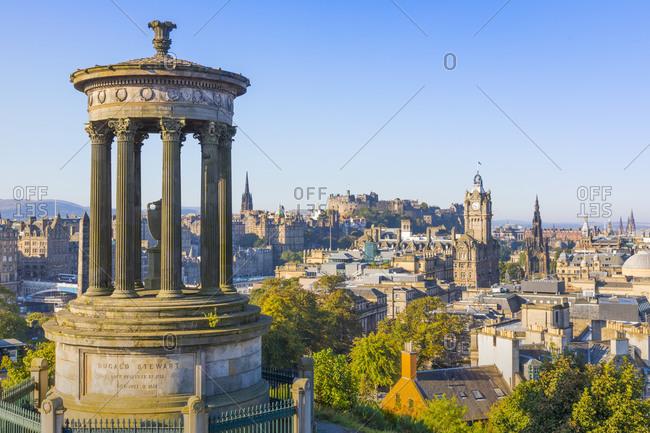 September 21, 2019: City center skyline, Dugald Stewart Monument, Edinburgh, Scotland, United Kingdom, Europe