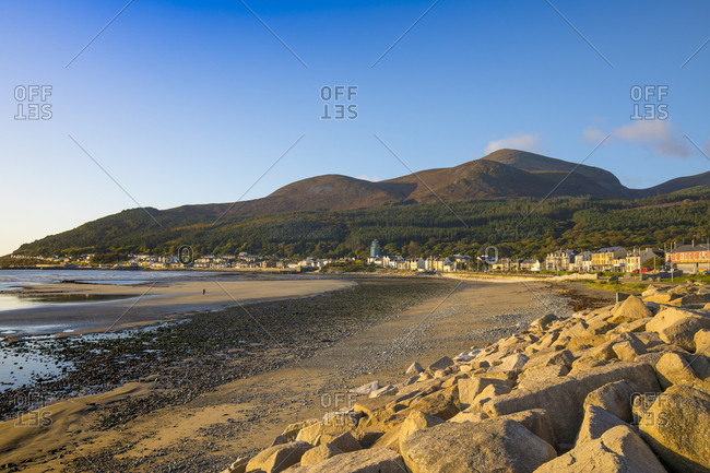 October 16, 2019: Sea defenses, Newcastle Beach, Mourne Mountains, County Down Coast, Ulster, Northern Ireland, United Kingdom, Europe