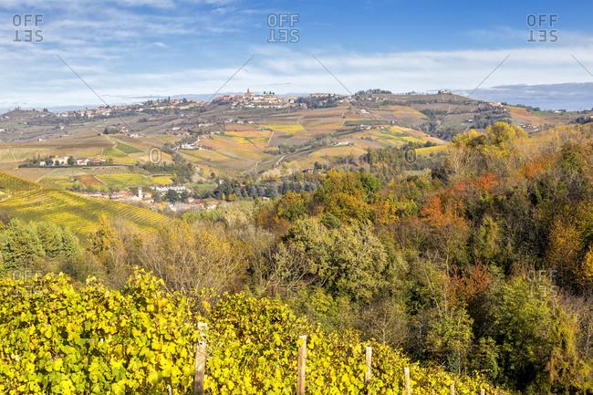 Village of Diano d'Alba in autumn, Barolo wine region, Langhe, Piedmont, Italy, Europe