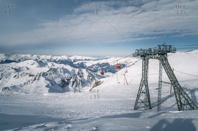 January 20, 2020: Red ski lifts at La Plagne ski resort, Tarentaise, Savoy, French Alps, France, Europe