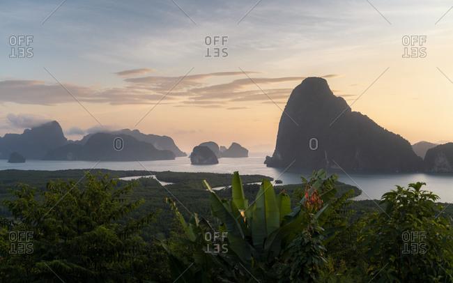 Sunrise at Samet Nangshe viewpoint, Phang Nga Bay National Park, Thailand, Southeast Asia