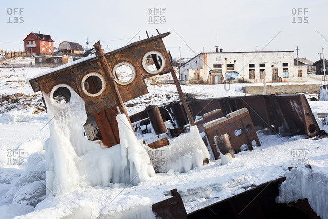 February 10, 2020: Ship wreck covered with ice at Olchon island, Siberia, Russia, Eurasia
