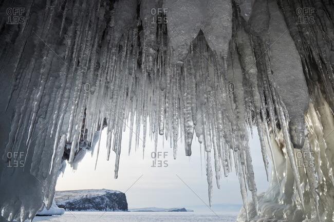 Ice cave look out on Lake Baikal, UNESCO World Heritage Site, Siberia, Russia, Eurasia