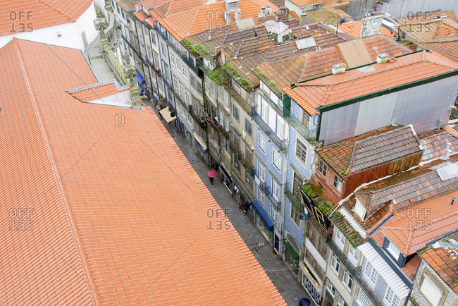 March 2, 2018: Aerial view over building rooftops in the city of Porto, Portugal