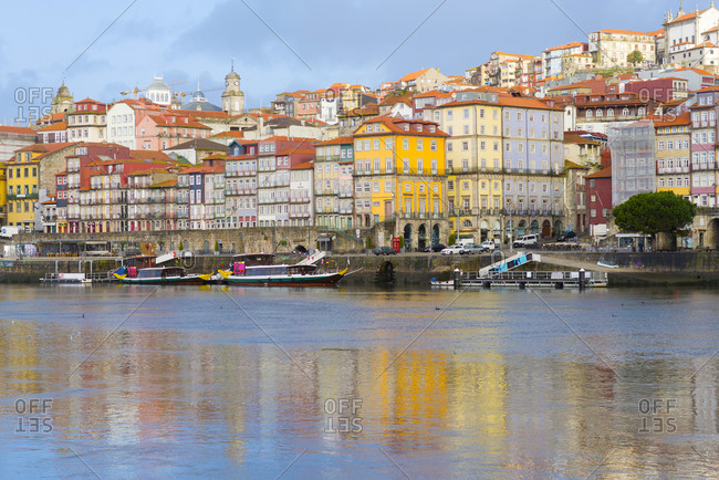 March 3, 2018: Porto, Portugal Old City Skyline on the Douro River