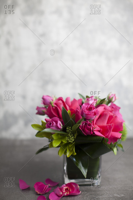 Floral arrangement with pink roses