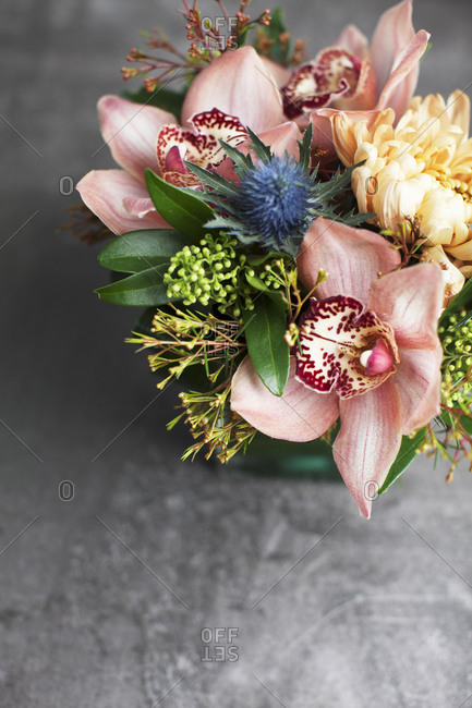 Floral arrangement with pink orchids from above