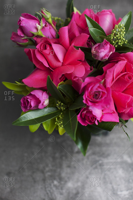 Aerial view of floral arrangement with pink roses