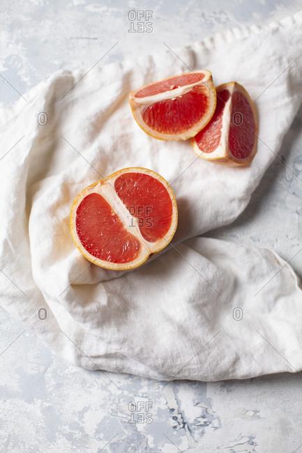 Pink Grapefruit on a white linen