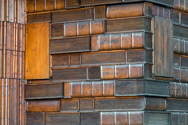 Cansiglio, Veneto, Italy - November 4, 2018: Detail of the unusual Casa del Libro or Book house of Tambre in the Cansiglio forest
