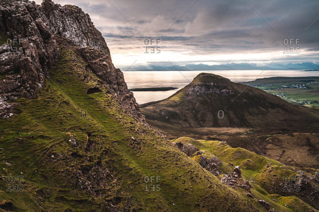 The sunrise over lunar landscape of Quiraing, Trotternish Peninsula in the Isle of Skye, Highlands, Scotland