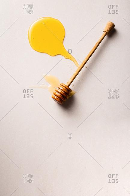 Honey stick with homemade honey top view