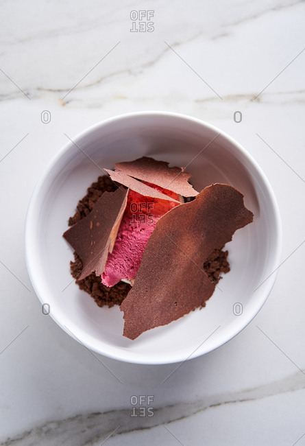 Top view of contemporary cold plated chocolate and raspberry dessert