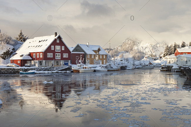 Morning in small harbor in Kabelvag in Lofoten