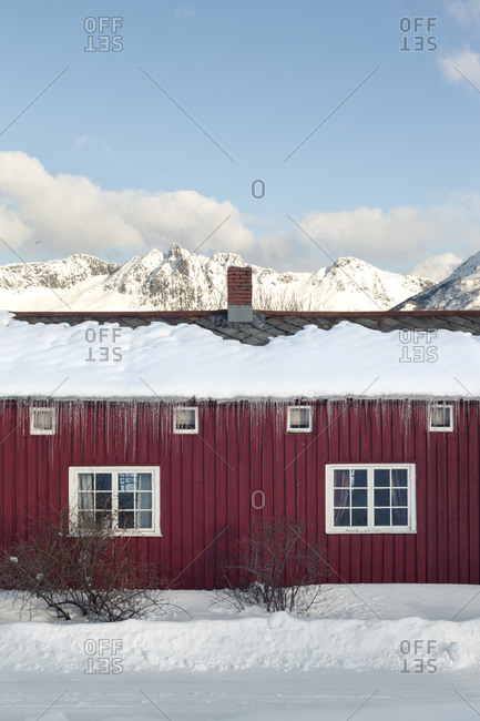 Red wooden house in front of large mountains in Lofoten