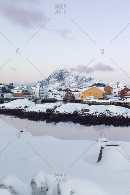 Kabelvag, Norway - March 2020: Morning in small harbor in Kabelvag in Lofoten
