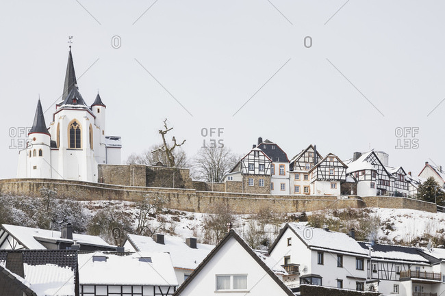 Germany- North Rhine-Westphalia- Refreshed- Historical village in winter