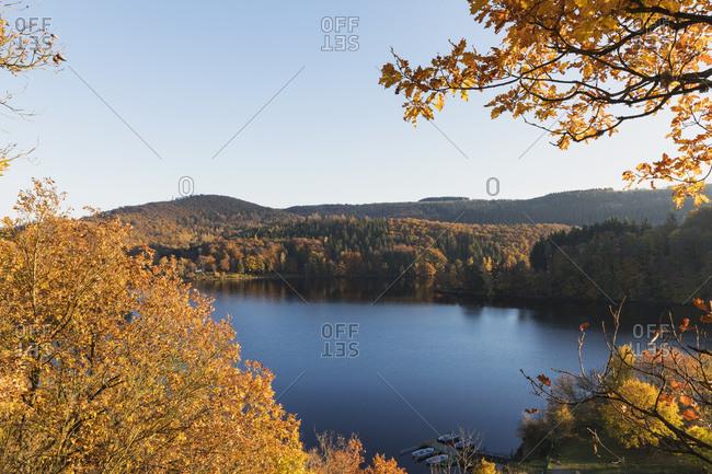 Germany- North Rhine-Westphalia- Long exposure of Obersee lake in autumn