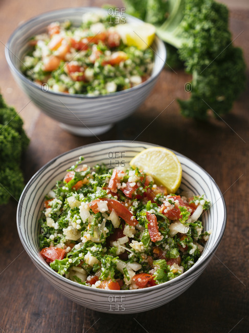 Variation of traditional tabbouleh salad with kale instead of parsley